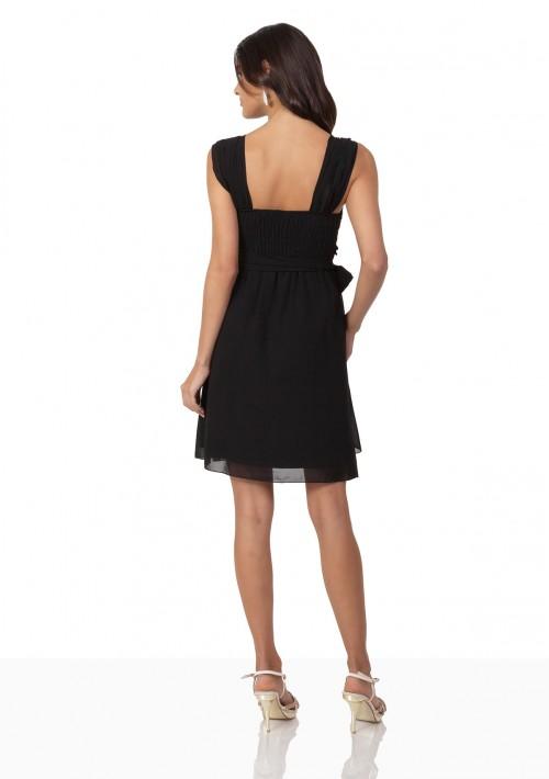 Schwarzes Cocktailkleid aus Chiffon mit Schleifen - bei vipdress.de günstig shoppen