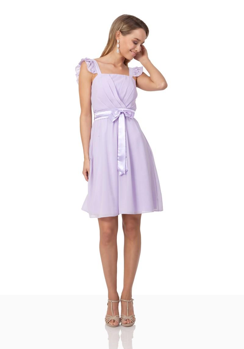 Abendkleid in Flieder mit Schleife und Taillenband online kaufen ✿