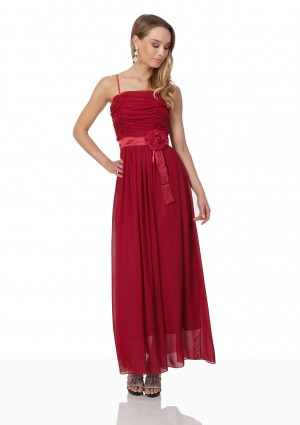 Abendkleid aus Chiffon in Rot mit Taillenblüte -