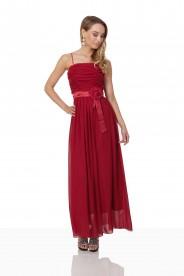 Abendkleid aus Chiffon in Rot mit Taillenblüte