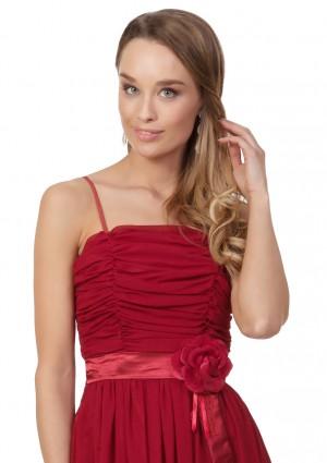 Abendkleid aus Chiffon in Rot mit Taillenblüte - hier günstig online bestellen