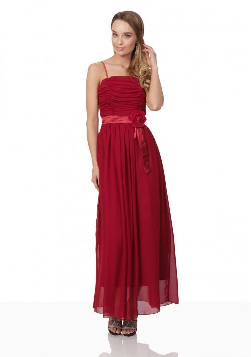 Abendkleid aus Chiffon in Rot mit Taillenblüte - bei vipdress.de günstig shoppen