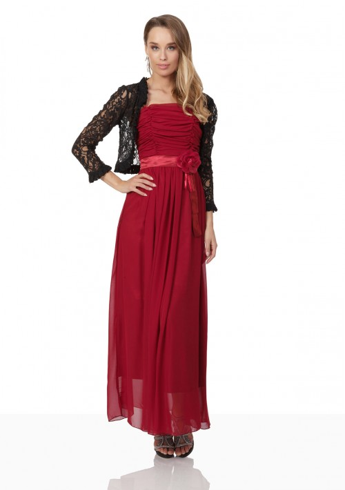 Abendkleid aus Chiffon in Rot mit Taillenblüte - bei VIP Dress günstig kaufen