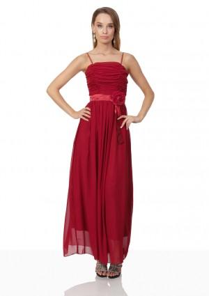 Abendkleid aus Chiffon in Rot mit Taillenblüte - günstig kaufen bei vipdress.de