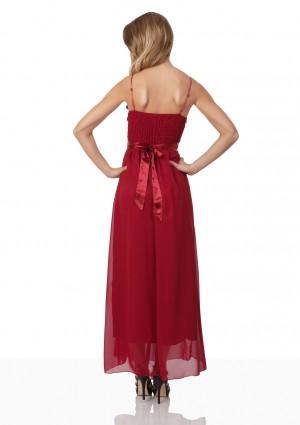 Abendkleid aus Chiffon in Rot mit Taillenblüte - günstig bei VIP Dress