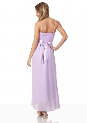 Chiffon-Abendkleid in Flieder mit aparter Raffung - bei VIP Dress günstig kaufen