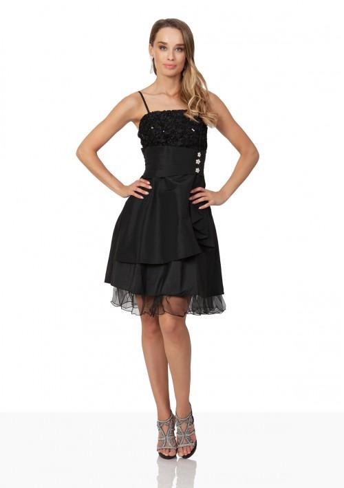 Schwarzes Cocktailkleid aus Satin mit aufwendiger Zierde - schnell und günstig bei VIP Dress