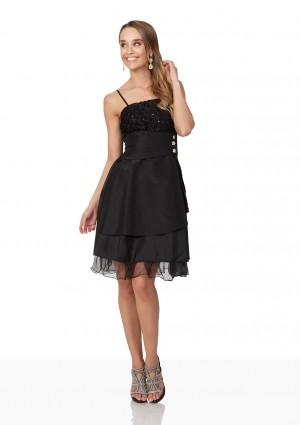Schwarzes Cocktailkleid aus Satin mit aufwendiger Zierde - günstig bei VIP Dress