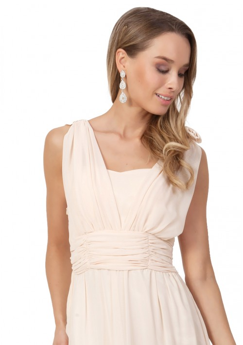Chiffon-Abendkleid in Apricot mit Blütenzierde - bei VIP Dress günstig kaufen