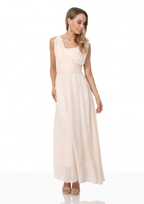 Chiffon-Abendkleid in Apricot mit Blütenzierde - schnell und günstig bei VIP Dress