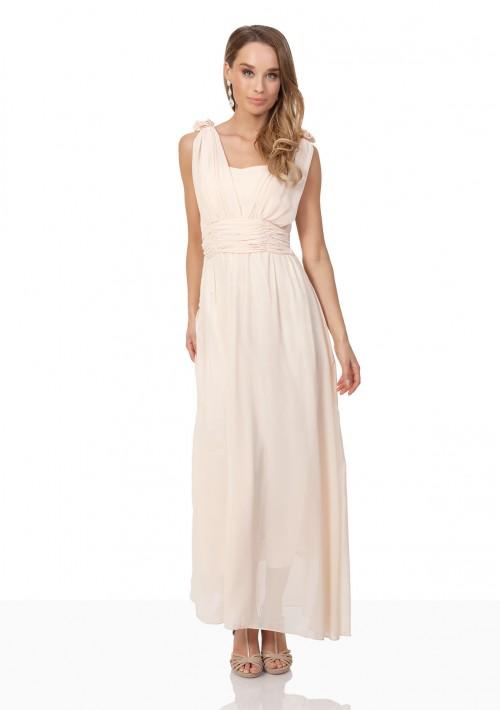 Chiffon-Abendkleid in Apricot mit Blütenzierde - bei vipdress.de günstig shoppen