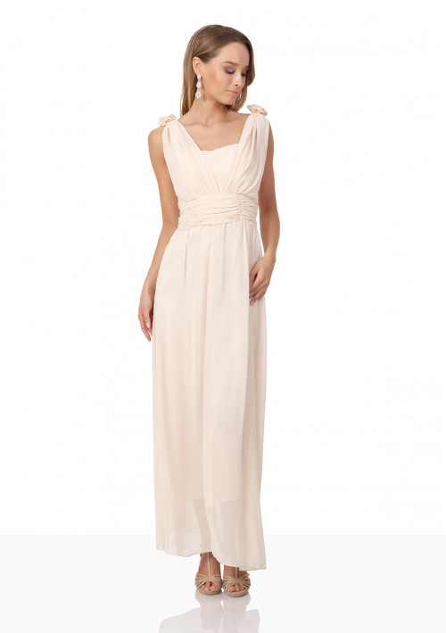 Chiffon-Abendkleid in Apricot mit Blütenzierde - günstig bei VIP Dress
