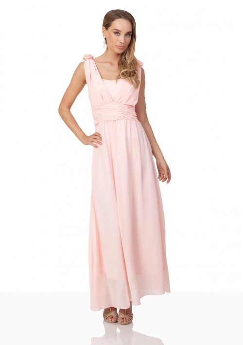 Abendkleid aus Chiffon mit Schulterblüten in Rosa - bei vipdress.de günstig shoppen