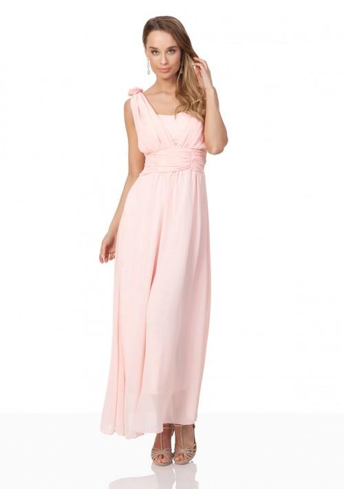 Abendkleid aus Chiffon mit Schulterblüten in Rosa - hier günstig online bestellen