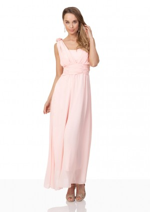 Abendkleid aus Chiffon mit Schulterblüten in Rosa - bei VIP Dress online bestellen