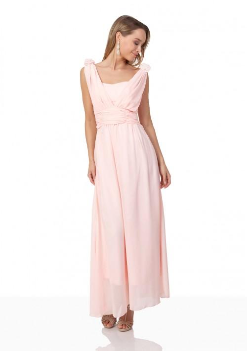 Abendkleid aus Chiffon mit Schulterblüten in Rosa - günstig bestellen bei VIP Dress