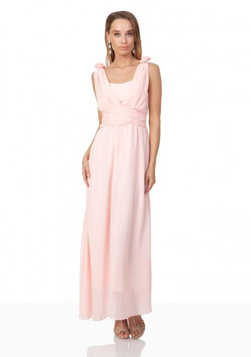 Abendkleid aus Chiffon mit Schulterblüten in Rosa - schnell und günstig bei VIP Dress