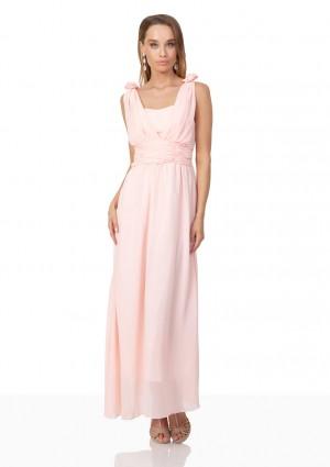 Abendkleid aus Chiffon mit Schulterblüten in Rosa - online bestellen bei vipdress.de
