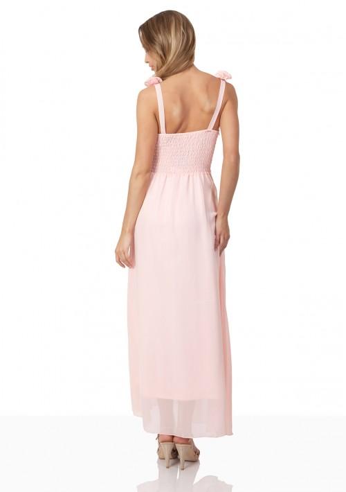 Abendkleid aus Chiffon mit Schulterblüten in Rosa - günstig bei VIP Dress