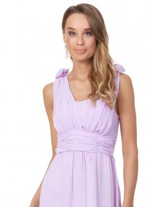 Chiffon-Abendkleid in Flieder mit Blüten auf den Schultern - bei VIP Dress günstig kaufen