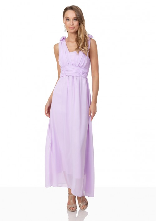 Chiffon-Abendkleid in Flieder mit Blüten auf den Schultern - online bestellen bei vipdress.de