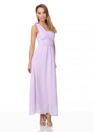 Chiffon-Abendkleid in Flieder mit Blüten auf den Schultern - bei vipdress.de günstig shoppen