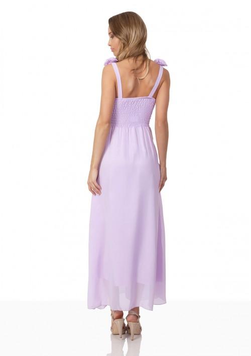 Chiffon-Abendkleid in Flieder mit Blüten auf den Schultern - günstig bei VIP Dress