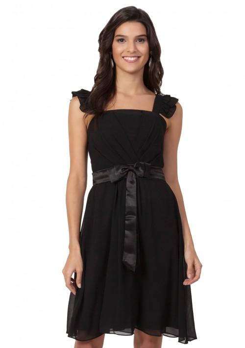 Verspieltes Cocktailkleid aus Chiffon in Schwarz - bei VIP Dress günstig kaufen