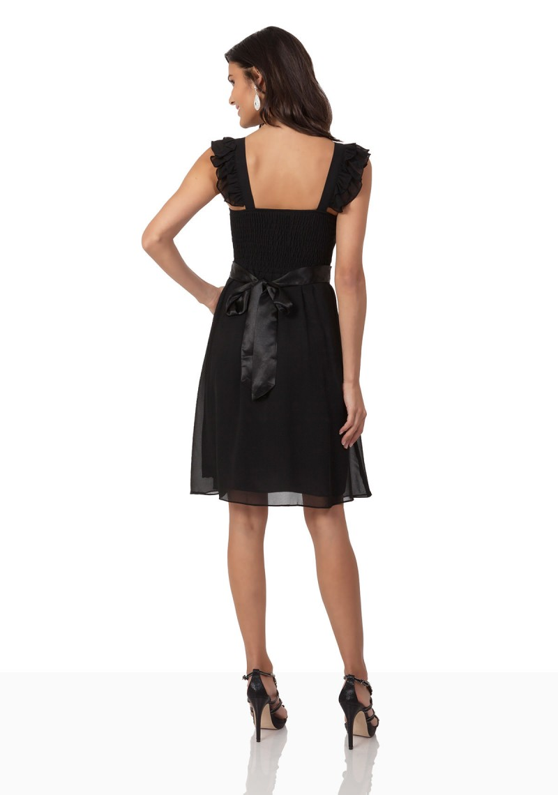 ... hier günstig online bestellen · Verspieltes Cocktailkleid aus Chiffon  in Schwarz - günstig kaufen bei vipdress.de 6b26d1e144