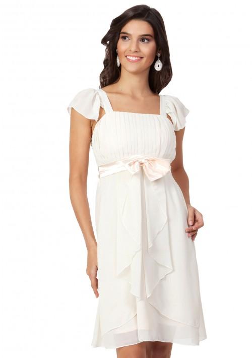 Chiffon-Cocktailkleid in Beige im verspielten Design - günstig bestellen bei VIP Dress