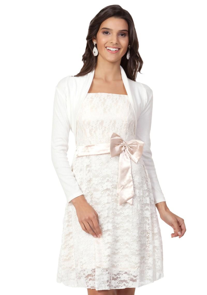 Geschmackvolle, langärmelige Bolero Jacke ✮ in Weiß ♥