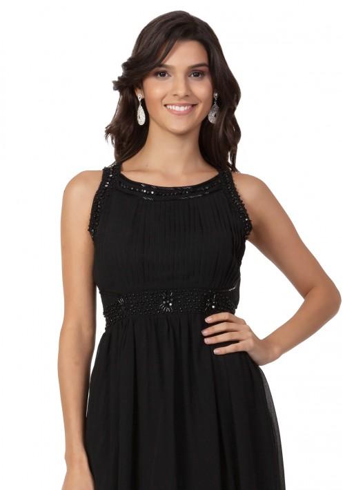 Schwarzes Abendkleid aus Chiffon mit Applikationen - bei vipdress.de günstig shoppen