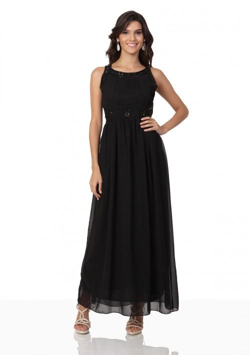 Schwarzes Abendkleid aus Chiffon mit Applikationen - hier günstig online bestellen