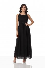 Schwarzes Abendkleid aus Chiffon mit Applikationen