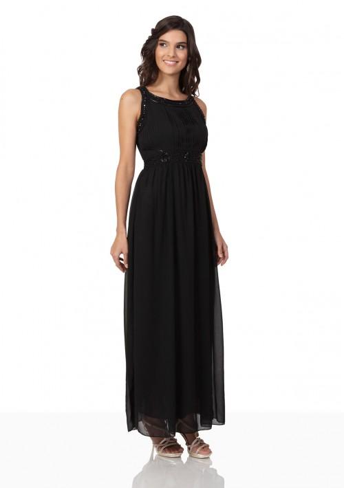 Schwarzes Abendkleid aus Chiffon mit Applikationen - online bestellen bei vipdress.de