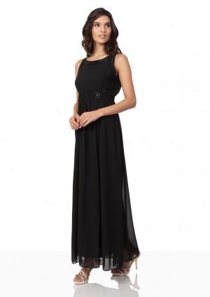Schwarzes Abendkleid aus Chiffon mit Applikationen - günstig bei VIP Dress