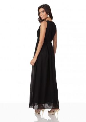 Schwarzes Abendkleid aus Chiffon mit Applikationen - günstig bestellen bei VIP Dress