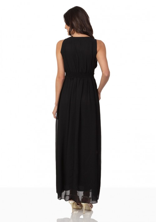 Schwarzes Abendkleid aus Chiffon mit Applikationen - günstig kaufen bei vipdress.de