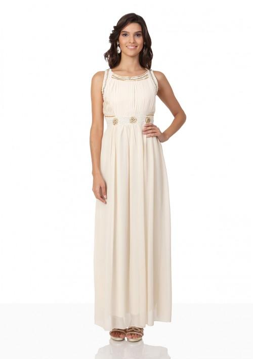 Abendkleid aus Chiffon in Beige - bei VIP Dress günstig kaufen