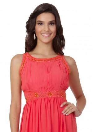 Schlichtes Abendkleid in Melone mit Zierelementen  - bei VIP Dress günstig kaufen