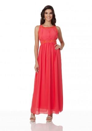 Schlichtes Abendkleid in Melone mit Zierelementen  - online bestellen bei vipdress.de