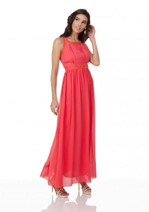 Schlichtes Abendkleid in Melone mit Zierelementen  - bei vipdress.de günstig shoppen