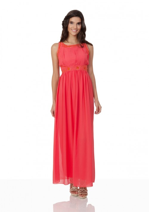 Schlichtes Abendkleid in Melone mit Zierelementen  - günstig bei VIP Dress