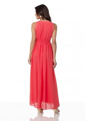 Schlichtes Abendkleid in Melone mit Zierelementen  - günstig bestellen bei VIP Dress