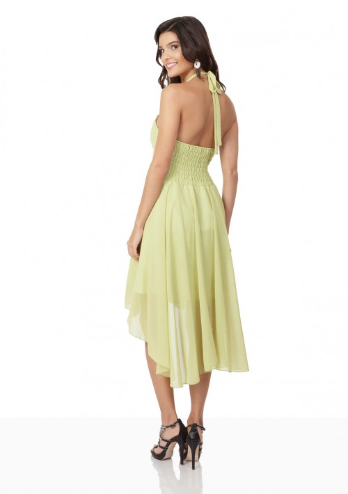 Lindgrünes Cocktailkleid mit Triangle-Top und Vokuhilaschnitt - bei VIP Dress online bestellen