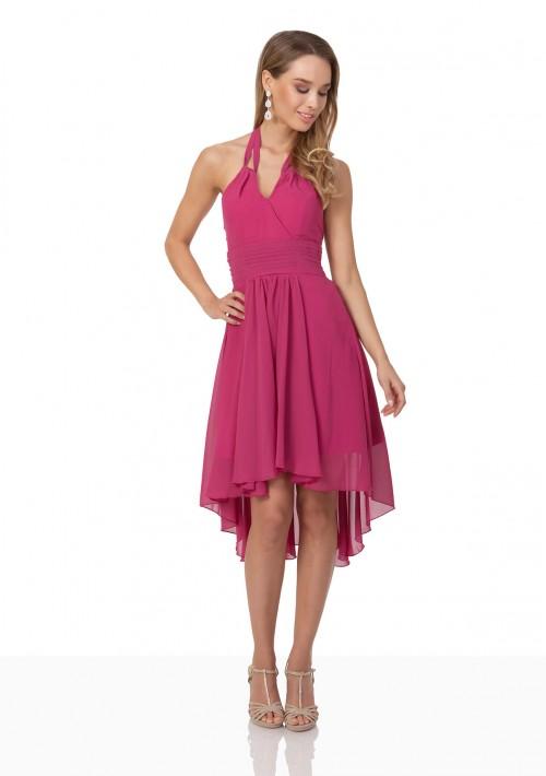 Pinkes Cocktailkleid aus Chiffon im Vokuhila-Style - bei VIP Dress günstig kaufen