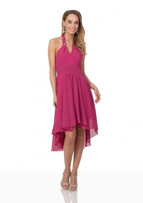 Pinkes Cocktailkleid aus Chiffon im Vokuhila-Style - schnell und günstig bei VIP Dress