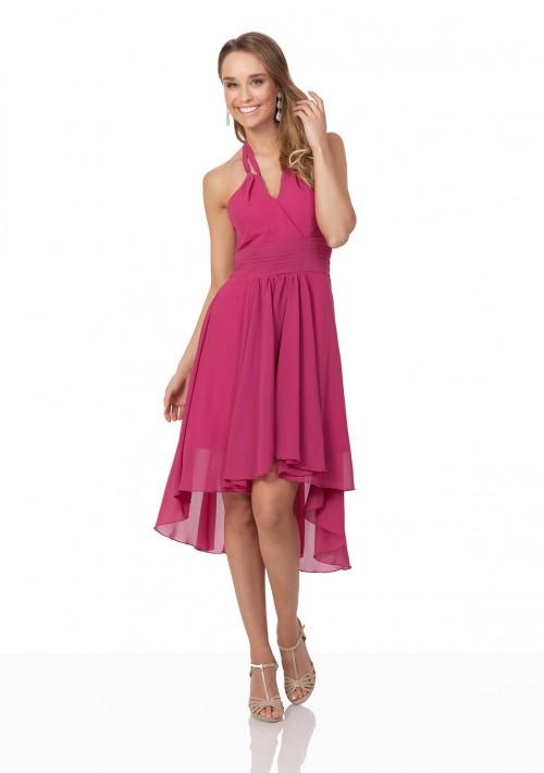 Pinkes Cocktailkleid aus Chiffon im Vokuhila-Style - hier günstig online bestellen