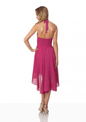 Pinkes Cocktailkleid aus Chiffon im Vokuhila-Style - günstig bei VIP Dress