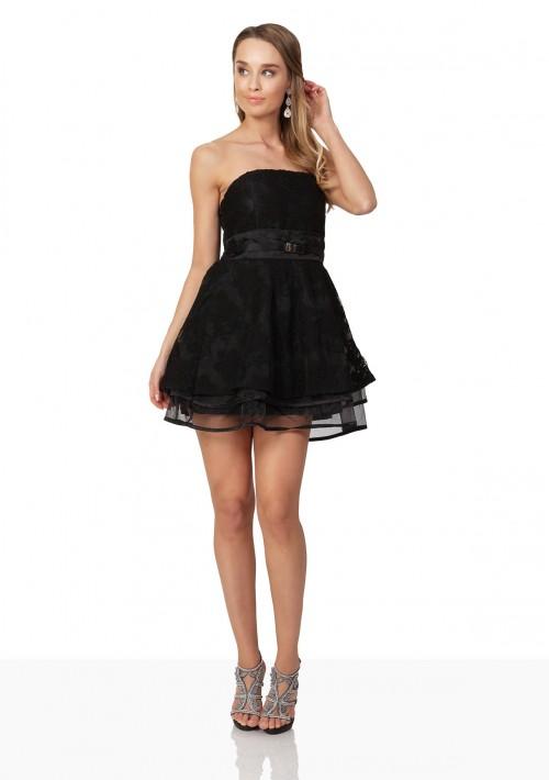 Schwarzes Abendkleid aus Chiffon und Tüll - bei VIP Dress günstig kaufen
